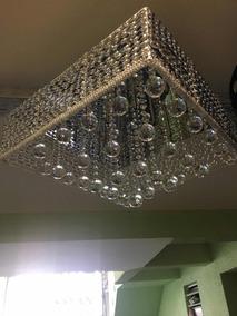 Lustre Crystal 50x50 Com Alumínio