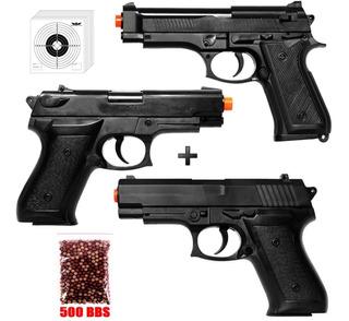 3x Pistolas Airsoft Spring Vigor P99 + P1918 + P92 +bbs+alvo