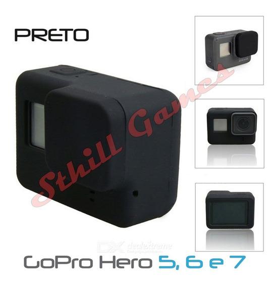 Capa Protetora + Tampa Em Silicone Gopro Hero 5,6 E 7 Preto