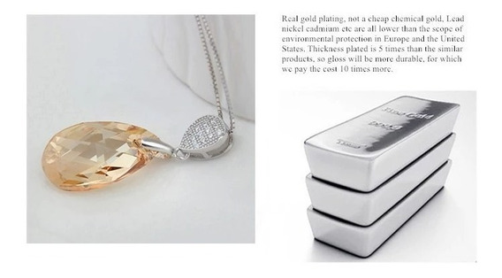 Swarovski Crystal Dije Humo Oval Ak Jewelry Plata 925 Oro