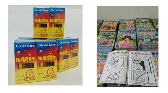 30 Caixas De Giz De Cera + 30 Revistas De Colorir,+ Barato