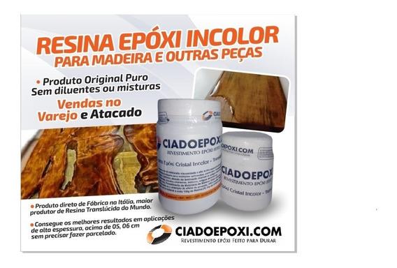 Resina Epoxi Incolor Vidro Líquido, Madeira Com 5,00 Kgs A+b
