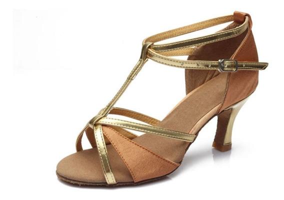 Zapatillas Salsa Bachata Baile Para Mujer Zapatos 7cm Tacon