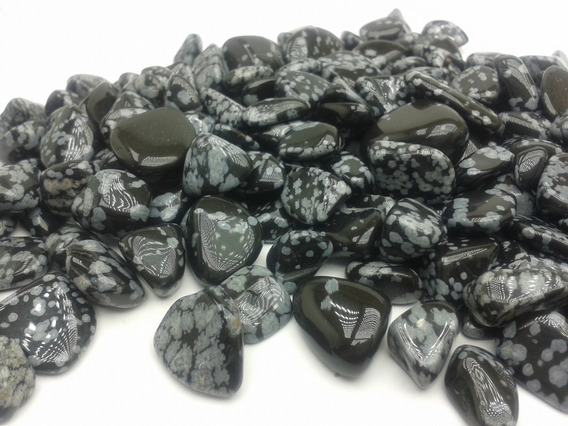 Obsidiana Floco De Neve Rolada 500g Pedra Cura Cristais