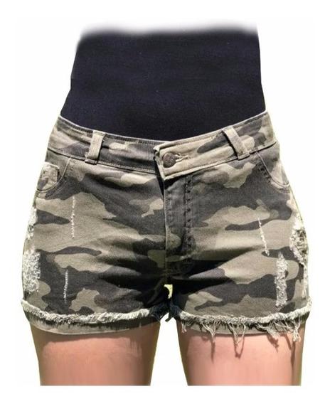 Shorts Jeans Camuflado Sarja Roupas Feminina Blogueira 2019