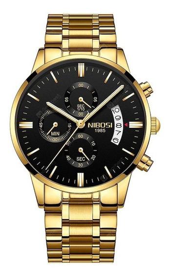 Relógio Dourado Masculino Nibosi Cronógrafo Original Luxo