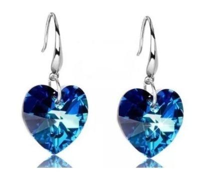 Brinco Feminino Pequeno Prata Coração Azul Gancho Curvo