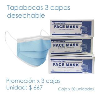 Tapabocas 3 Capas Promo X 3 Cajas - - Unidad a $667