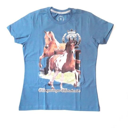 Blusa Fem Malha Country Super Bulls Azul Mangalarga Rodeio