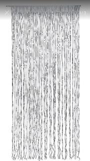 Cortina Flecos Metalizada Plateada - 0,80 X 2,20 Metros