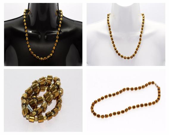 Collar Piedra Natural Dama Moda Magnetita Color Oro Ccpn145