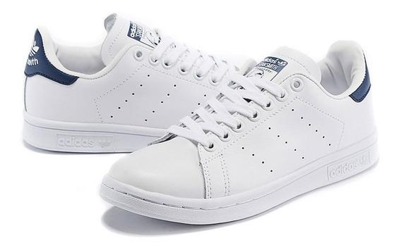 Tenis adidas Stan Smith Blancos Con Azul Unisex, Zapatillas.