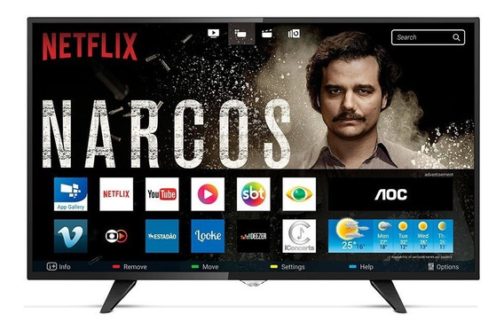 Smart Tv Led 43 Polegadas Aoc Full Hd Usb Hdmi Le43s5760