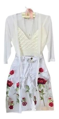 Cardigan Kimono Colete Tule Bordado + Cropped Trico Alça