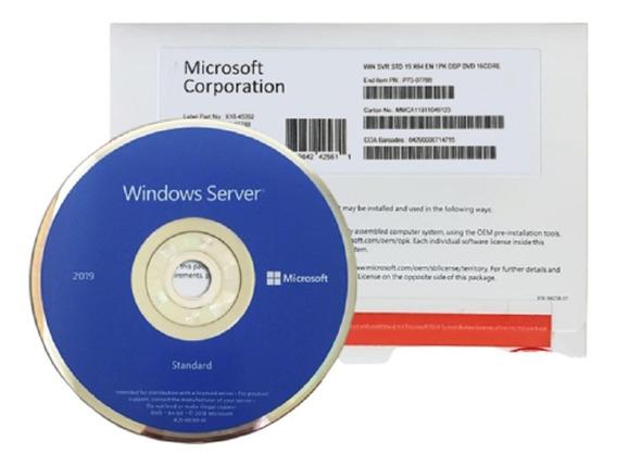 Windows Server 2019 Standard 64-bit 16 Core Dvd Case Branco