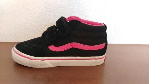 Tenis Vans De Niña, De Piel, Color Negros Con Rosa, Talla 14