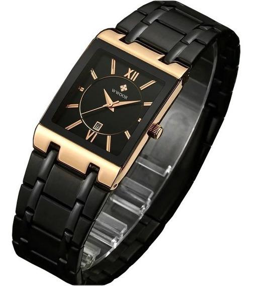 Relógio Masculino Preto Ultrafino Luxuoso C/ Caixa 8858