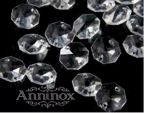5.100 Castanhas Acrilico Cristal 14mm Com Argolas De Inox