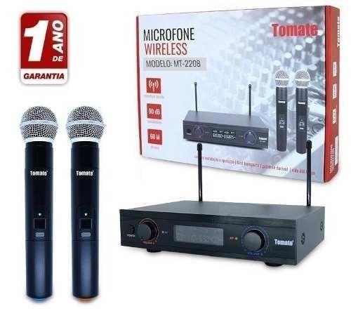 Microfone Profissional Duplo Tomate Mt2208 Sem Fio 110v 220v