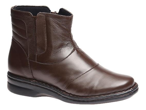Bota Feminina Em Couro Roma Café 373 Doctor Shoes