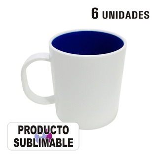 6 Tazas Blancas Sublimables Polimero Con Interior De Color