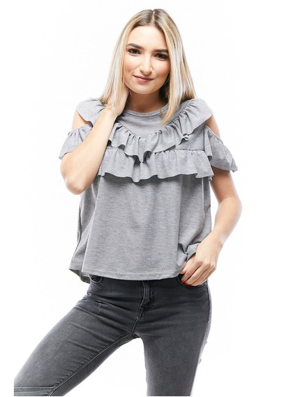 Blusa Jersey Manga Corta Off-shoulder Damas Rose Fashion