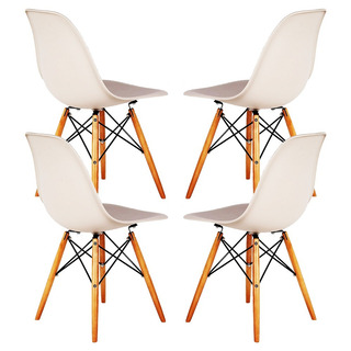 Set De 4 Sillas Eames Dsw Paris Asiento Plástico Patas Madera De Haya Estructura Metal Muy Resistentes Nuevo Modelo