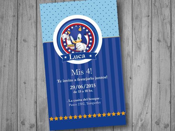 Tarjetas De Invitacion De Sonic Kits Imprimibles Para