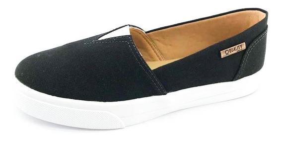 Tênis Slip On Quality Shoes Feminino 002 Lona Preto