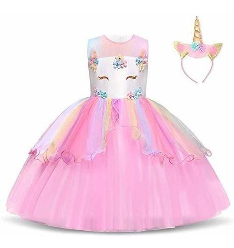 Niñas Unicornio Traje Del Vestido De La Princesa Vestidos D