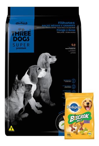 Imagen 1 de 3 de Threedogs Super Premium Filhotes 15+2kg + Regalo !!