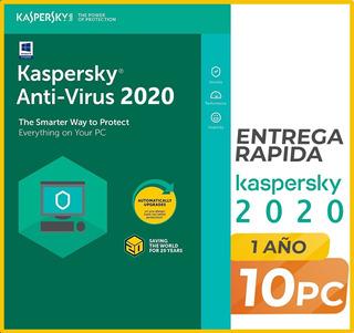 Kaspersky Anti-virus 2019-2020 10 Pc 1 Año