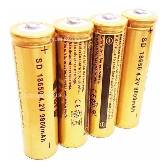 Kit 4 Baterias 18650 Gold 9800mah 4,2v Lanterna Tática Led