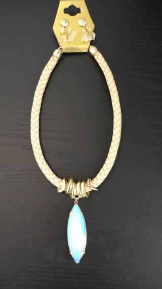 Colar Artesanal Luxo De Pedra Azul - Peça Única