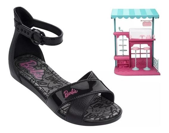 Sandália Infantil Feminina Barbie Confeitaria Baby Slide Plastic Lovers Rosa Grendene