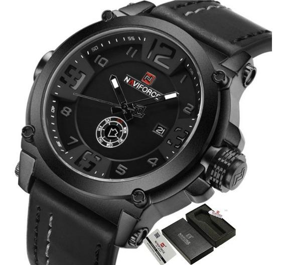 Relógio Masculino Naviforce Pulseira De Couro Luxo Original