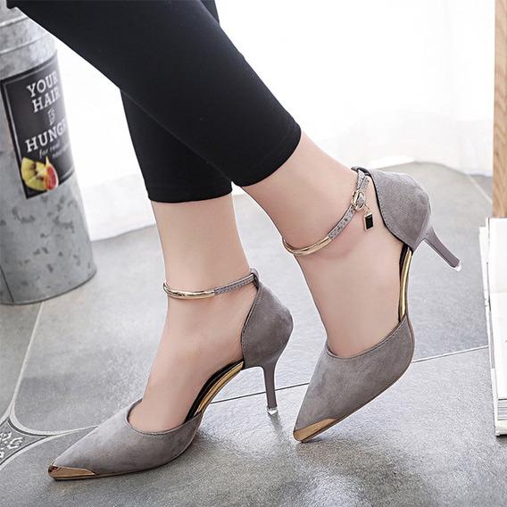 Zapatos Tacón Alto Mujer Punta Cerrada Dedo Del Pie