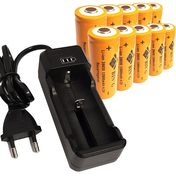 Kit Carregador + 10 Bateria 26650 12800mah Lanterna Led X900
