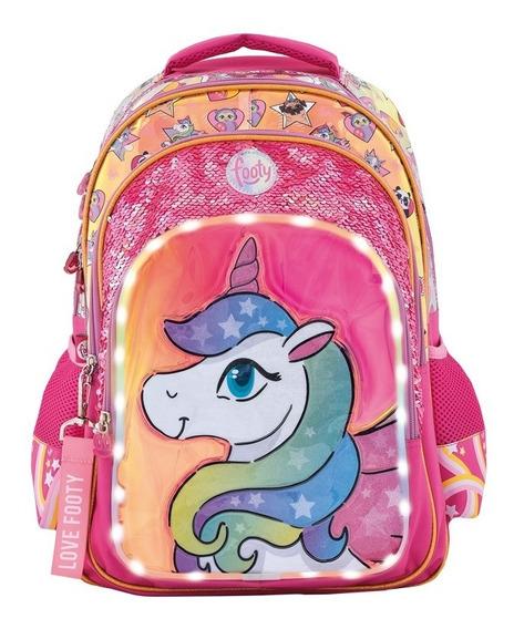 Mochila Espalda Footy Unicornio Lentejuelas Y Luz Led 18