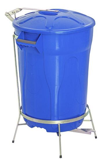 Lixeira Pedal De Aço Azul 100 Litros