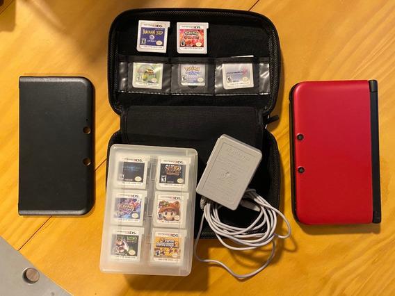 Nintendo 3ds Xl + 11 Jogos + Case, Capa E Porta Cartuchos