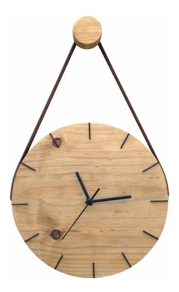 Relógio De Parede Decorativo Moderno Madeira Com Alça Imbuia
