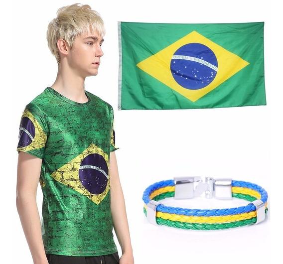 Camiseta + Bandeira Do Brasil + Pulseira Couro Importados