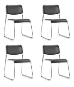 Kit 4 Cadeiras Fixa Empilhável Dakar Cromada Para Escritório