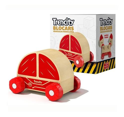 Imagen 1 de 10 de Trencity Blocars Auto Rojo Modular Madera Individual