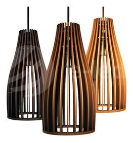 Lustre Luminaria Pendente De Madeira 30x15cm Cone E27