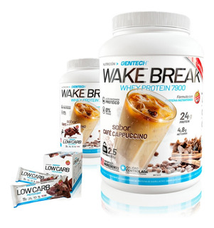 Proteina De Cafe Wake Break + Barritas Los Carb Gentech