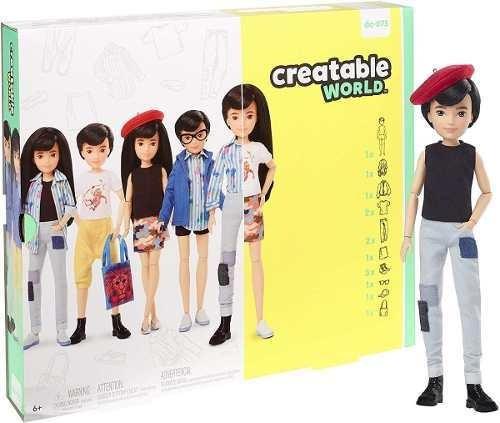 Boneco Mattel Creatable World Sem Gênero Cabelo Preto Liso