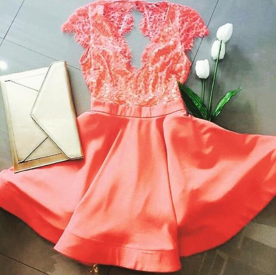 Vestido Coral Escote Espalda