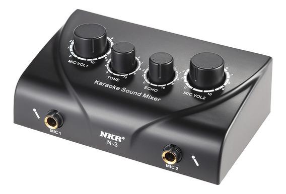 Estéreo Portátil Karaoke Sound Audio Mixer Eco Microfone